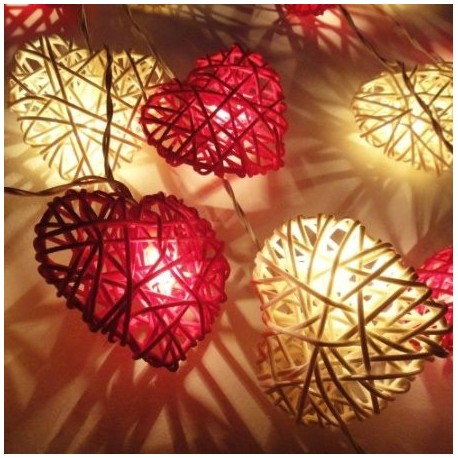 Red and White Heart Rattan LED Fairy Lights By Flowerglow