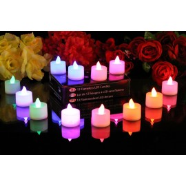 PK Green Set of 12 Colour Changing LED Candles