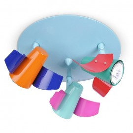 Colourful Bedroom/Nursery 3 Way Aeroplane Ceiling Spotlight